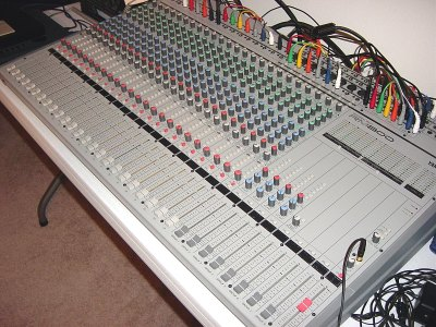 Our main board, the Yamaha RM800 24x8 mixing console.